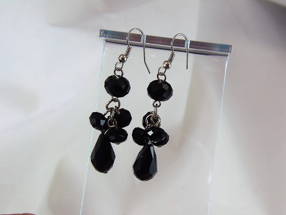 Black Dangle Costume Earrings