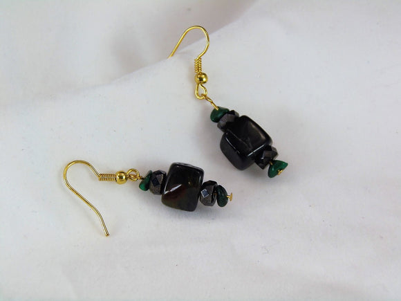 Black Stone Earrings - Large