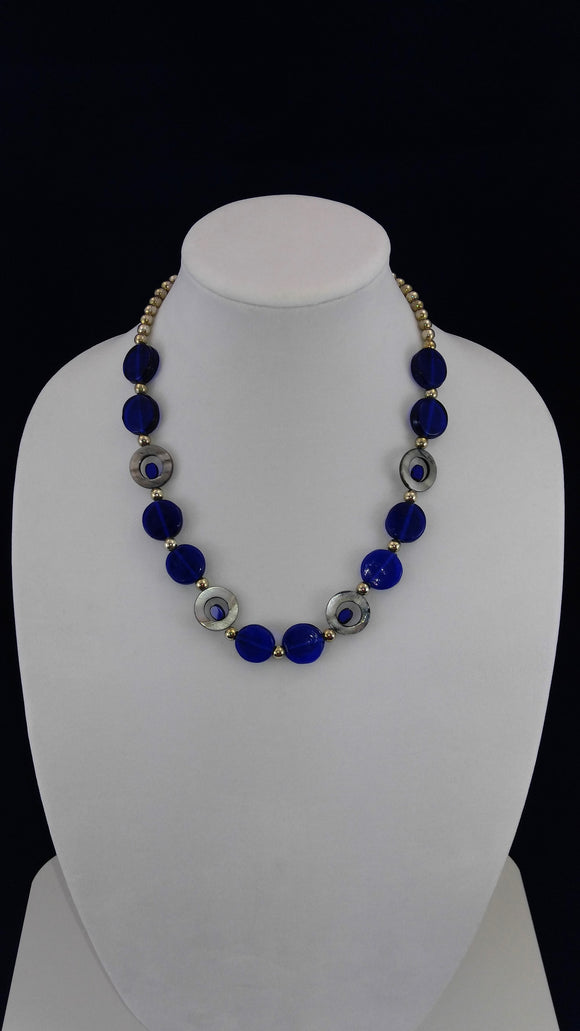 Blue & Silver Art Deco Necklace