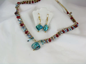 Turquoise Shell & Teardrop Set (Red)