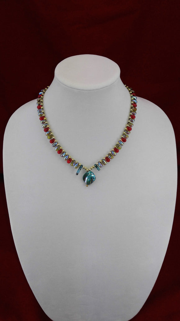 Turquoise Shell & Teardrop Necklace (Red)