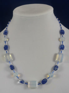 Blue Skies & Clouds Art Deco Necklace