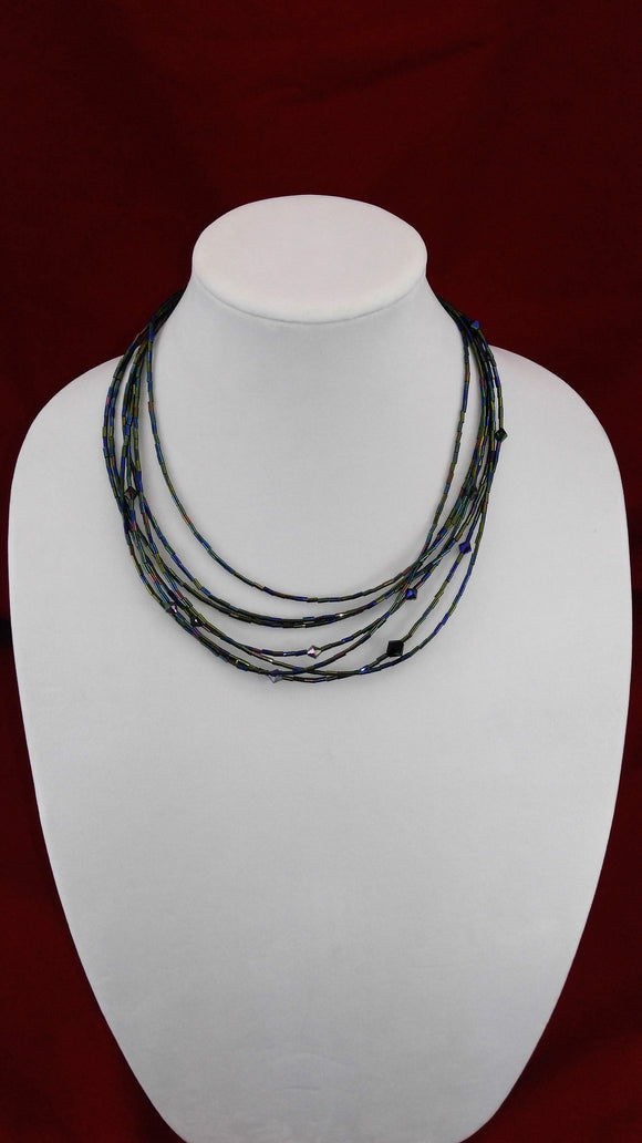 Iridescent Bugle Bead Necklace