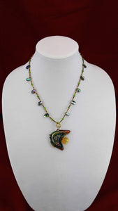 Glass Fish Art Deco Necklace