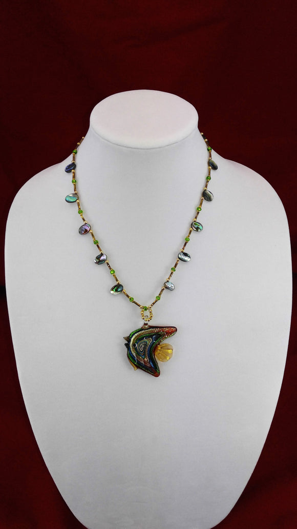Glass Fish & Abalone Art Deco Necklace