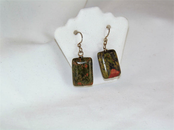 Green & Peach Stone Earrings