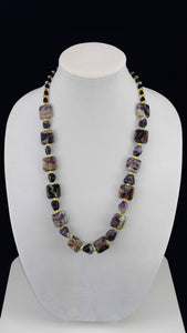 Purple Stone & Gold Rondelle Necklace