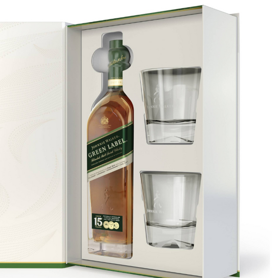 Johnnie Walker Green Label 750ml+ 2 vasos old fashion