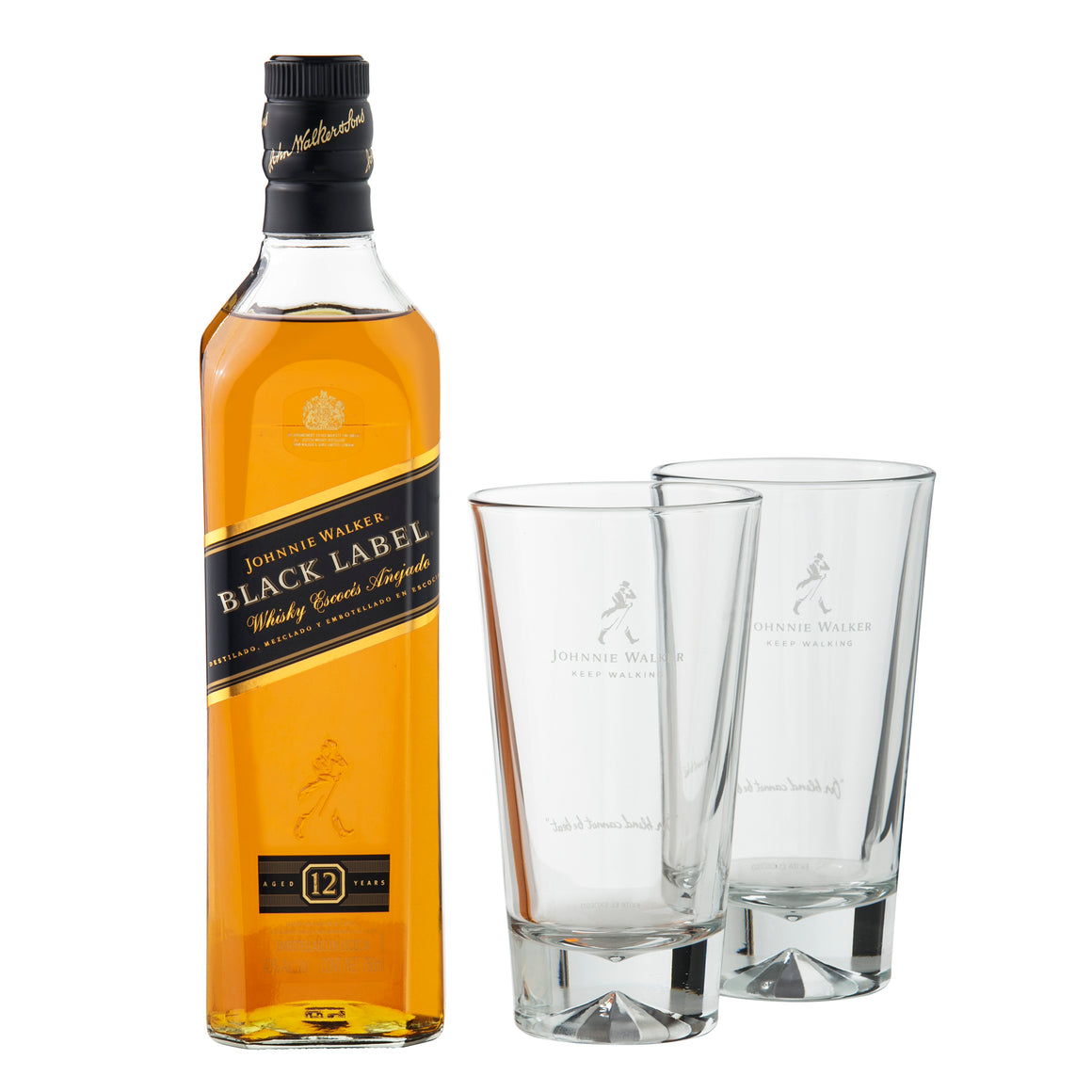 Whisky Johnnie Walker Etiqueta Negra 750 ml + 2 vasos