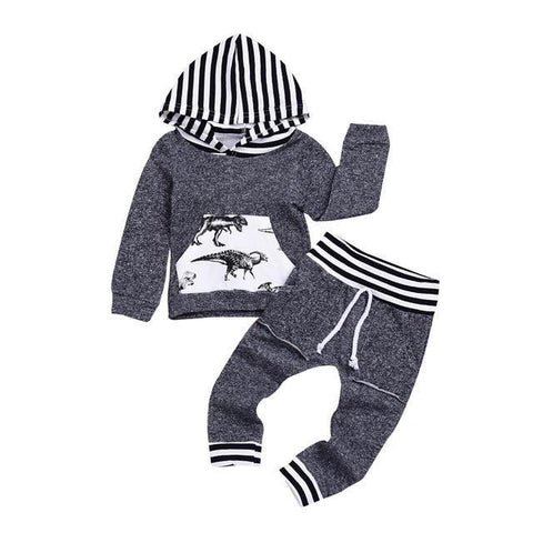 Grey Dinosaur Print 2pc Sets-Baby Boys-KidsDoFashion