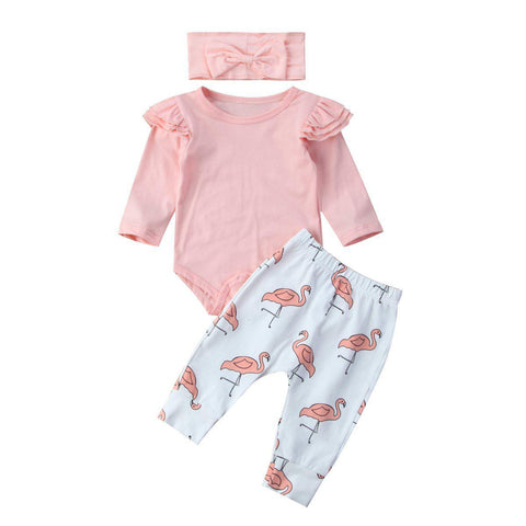 Little Flamingo Coothing Set-Baby Girls-KidsDoFashion