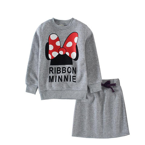Long Sleeve and Bow skirt Clothing Set-Girls-KidsDoFashion