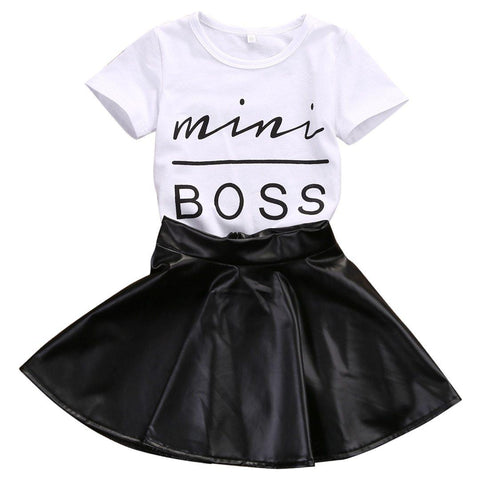 Mini Boss T-Shirt and Leather Skirt Outfit-Girls-KidsDoFashion
