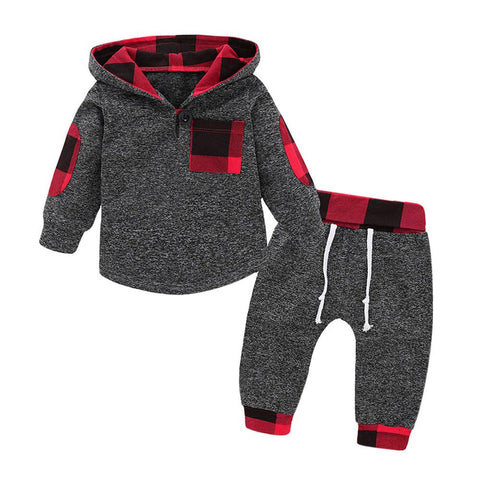 Plaid Hooded Long Sleeve Set-Baby Boys-KidsDoFashion