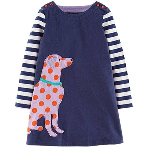 Sweet Animal Long Sleeve Dress-Girls-KidsDoFashion
