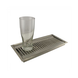 "Flush Mounted Drip Tray w/ Drain - 13"" x 6"" x 7/8"""