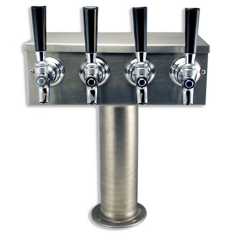 4 Faucet T Beer Tower - Brushed Stainless Steel - Canadian Homebrewing Supplier - Free Shipping - Canuck Homebrew Supply