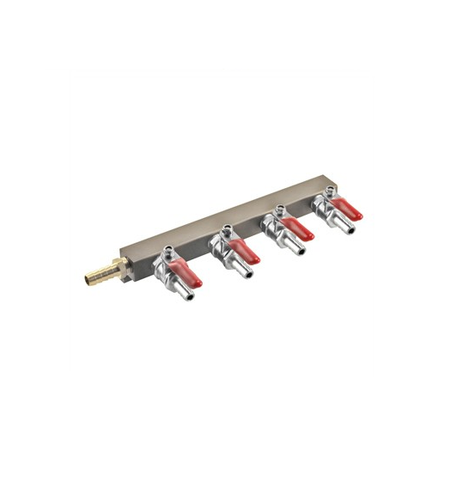 "4 Way Gas Distributor (Manifold) - 3/8"" Barbs"