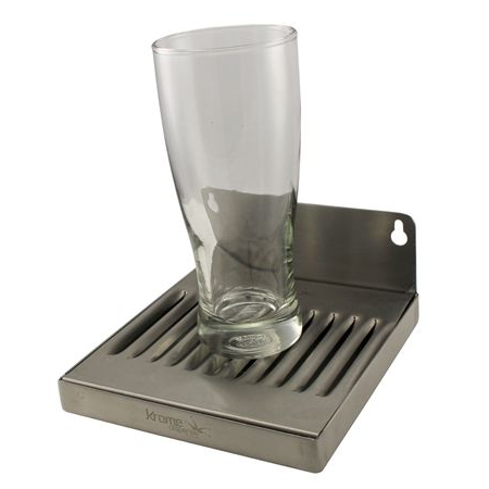 "Stainless Steel Wall Mounted Drip Tray with Drain - 6"" x 6"" x 3/4"""