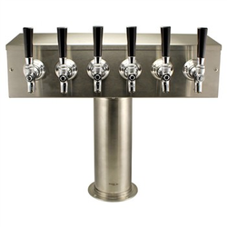 "Brushed Stainless Steel ""T"" Beer Tower - Six Faucet"