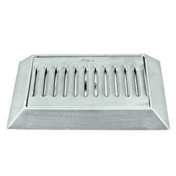 "Stainless Steel Bevel Edge Drip Tray with Drain - 9"" x 6.5"""