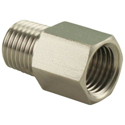 "Stainless Steel Thread Adapter - 1/4"" LHT Male NPT to 1/4"" RHT Female NPT"