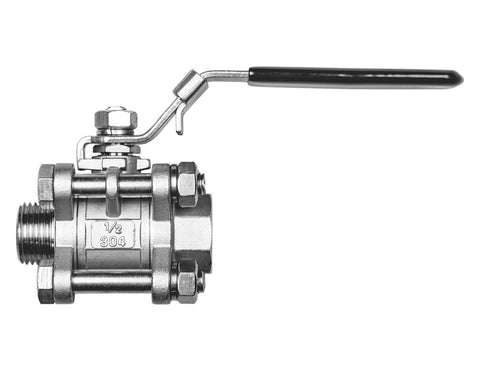 "Stainless Steel 3 Piece Ball Valve - 1/2"" Male NPT 