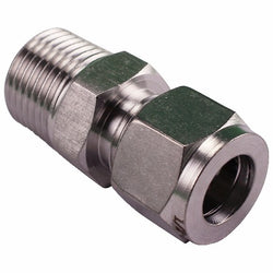 "Stainless Steel Fitting - 1/2"" Male NPT to 1/2"" Compression"