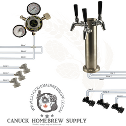 Brushed Stainless Steel Triple Tap Tower Ball Lock Kegerator Setup - Canadian Homebrewing Supplier - Free Shipping - Canuck Homebrew Supply