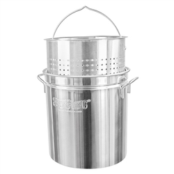 Bayou Classic Stainless Steel Stock Pot With Basket - 36 Qt.