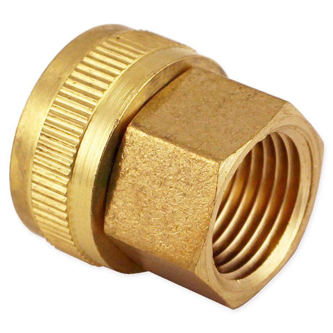"Brass Garden Hose Fitting - 3/4"" FGH to 1/2"" FPT Swivel"