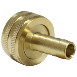 "Brass Garden Hose Fitting - 3/4"" Female GH to 3/8"" Barb"