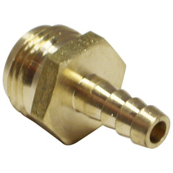 "Brass Garden Hose Fitting - 3/4"" Male GH to 3/8"" Barb"