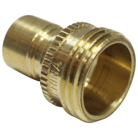 "Brass Garden Hose Fitting - 3/4"" Male GH to Male Quick Disconnect"