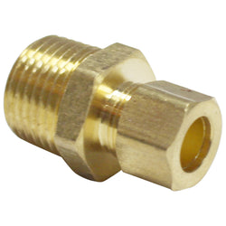 "Brass Compression Fitting - 3/8"" Compression to 1/2"" Male NPT"