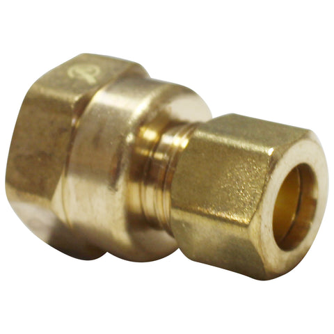 "Brass Compression Fitting - 3/8"" Compression to 1/2"" Female NPT"