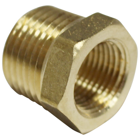 "Brass Reducer Bushing - 1/2"" Male NPT to 3/8"" Female NPT"