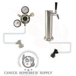 Brushed Stainless Steel Single Tap Tower Ball Lock Kegerator Setup - Canadian Homebrewing Supplier - Free Shipping - Canuck Homebrew Supply
