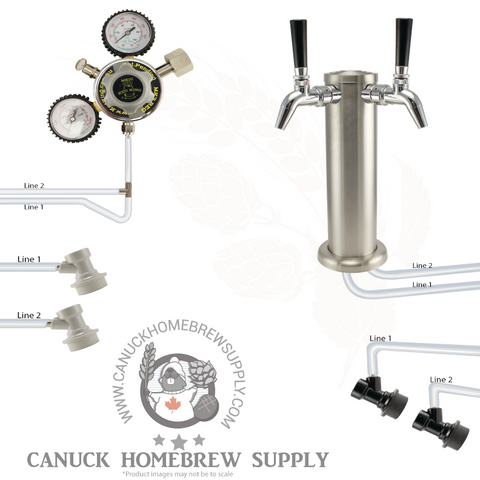 Brushed Stainless Steel Two Tap Tower Ball Lock Kegerator Setup - Canadian Homebrewing Supplier - Free Shipping - Canuck Homebrew Supply