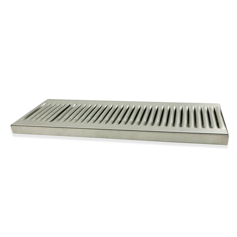 "Stainless Steel Surface Mounted Drip Tray with Drain - 16"" x 5"" x 3/4"""