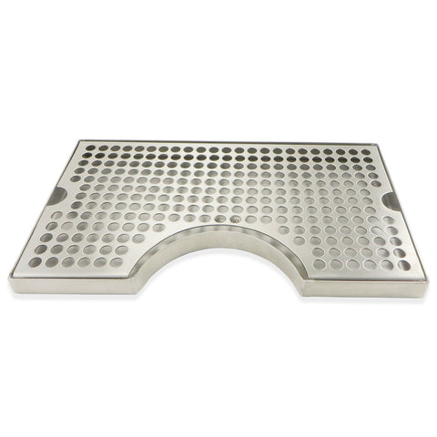 "Stainless Steel Surface Mounted Cut-Out Drip Tray - 12"" x 7"" x 3/4"""