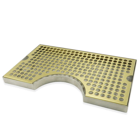 "Gold Plated Stainless Steel Surface Mounted Cut-Out Drip Tray - 12"" x 7"" x 3/4"""