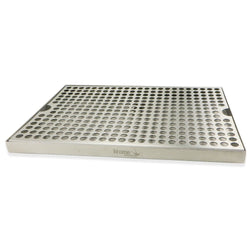 "Stainless Steel Surface Mounted Drip Tray with Drain - 12"" x 8"" x 3/4"""