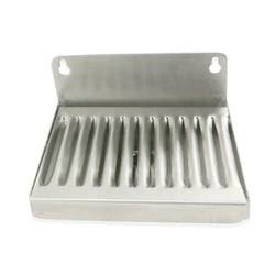 "Stainless Steel Wall Mounted Drip Tray with Drain - 6"" x 4.5"" x 3/4"""