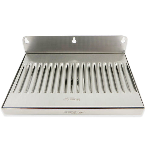 "Stainless Steel Wall Mounted Drip Tray with Drain - 10"" x 6"" x 3/4"""