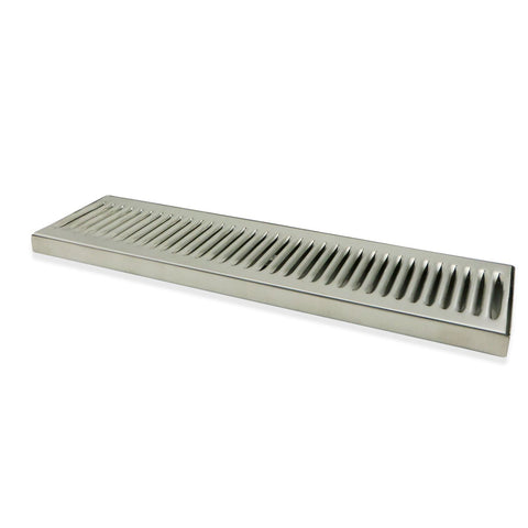 "Stainless Steel Surface Mounted Drip Tray with Drain - 18"" x 5"" x 3/4"""