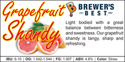 Grapefruit Shandy Recipe Kit - 1.8kg - Canadian Homebrewing Supplier - Free Shipping - Canuck Homebrew Supply