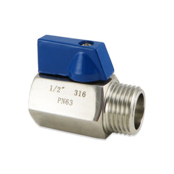 "Mini Ball Valve - Stainless Steel - 1/2"" MPT"