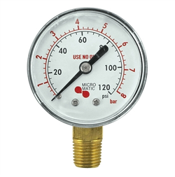 Micro Matic Low Pressure Gauge - 0-120 PSI - Right Hand Thread