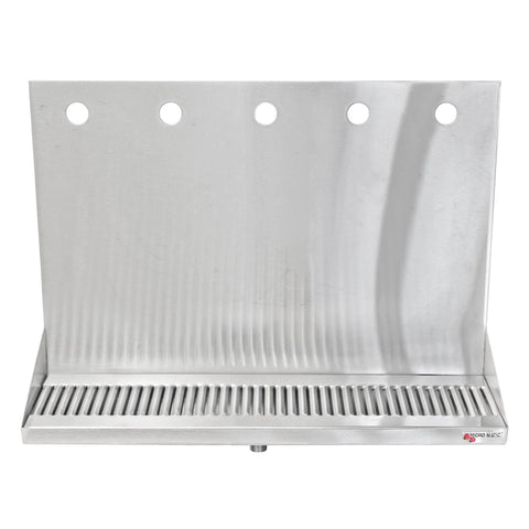 "Micro Matic Stainless Steel Drip Tray – Wall Mounting w/ 5 Shank Holes & Drain – 16"" x 6 1/2"" x 3/4"" [DP-322LD-5]"
